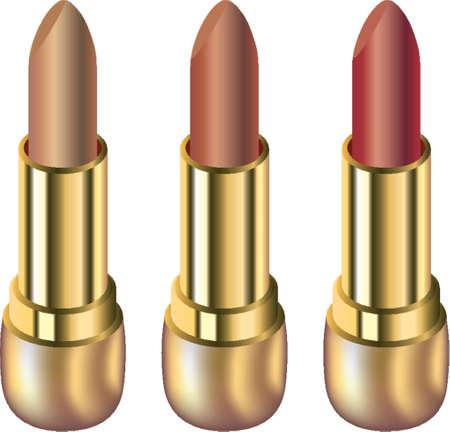 Three lipsticks isolated on white background Stock Vector - 1326149