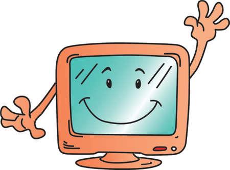 Funny cartoon computer monitor Vector