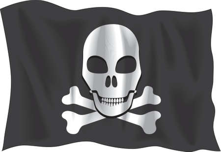 deathly: Waving Pirate flag isolated on white background