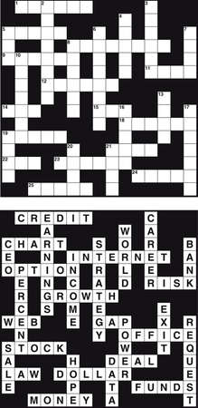 solved: Empty and solved business crossword Illustration