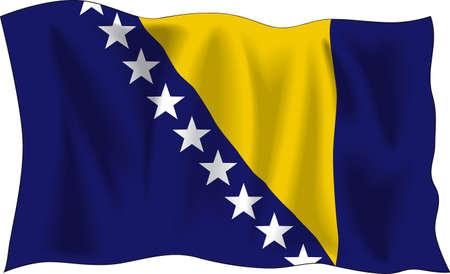 bosnia and herzegovina: Waving flag of Bosnia and Herzegovina isolated on white