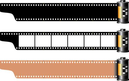 filmnegativ: Drei verschiedene leere Frames Film