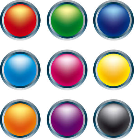 3D buttons in primary colors Stock Vector - 2024710