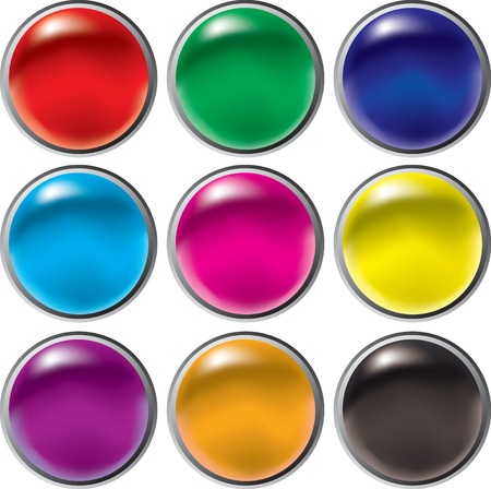 Round 3D button set for web Vector