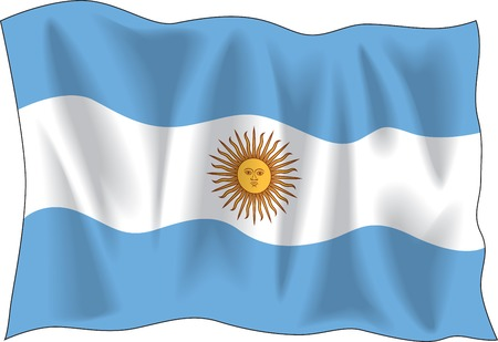 southamerica: Waving flag of Argentina on white background