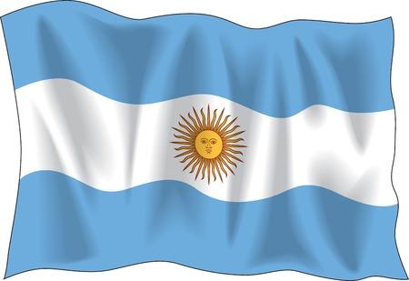 southamerica: Waving flag of Argentina on white background