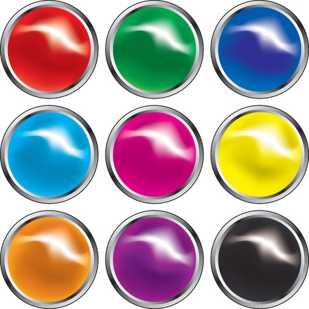 Web buttons in primary colors Vector