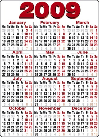 mon 12: Accurate calendar for year 2009 Illustration