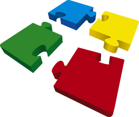 red puzzle piece: Vector illustration of puzzle pieces