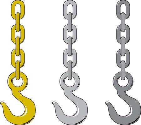 cadenas: Ilustraci�n vectorial de tres diferentes cadenas y gancho