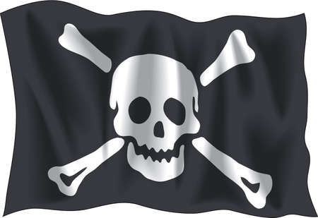 crossbone: Waving Pirate flag isolated on white background