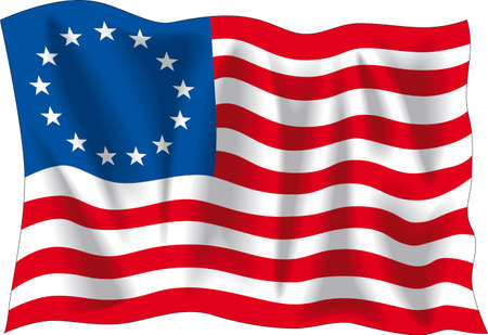 star spangled: Betsy Ross flag, vector illustration