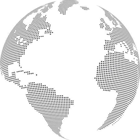 translucent: Vector illustration of world globe with square dots