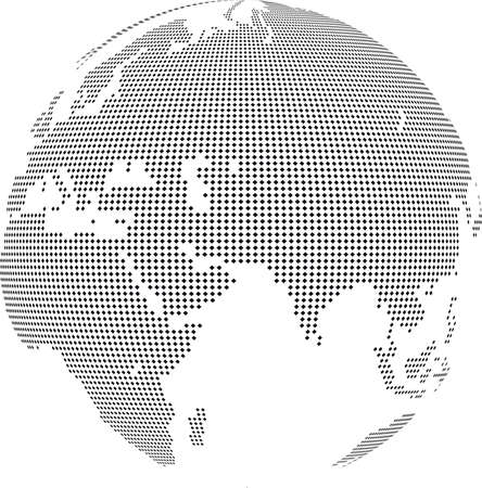geodesy: Vector illustration of world globe with square dots