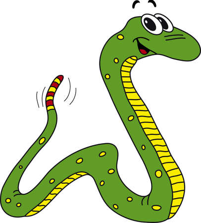 forked tongue: Vector illustration of funny green snake