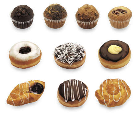 good cholesterol: Different doughnuts isolated on white background