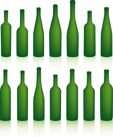 Empty green bottles with shadows Stock Vector - 3225426