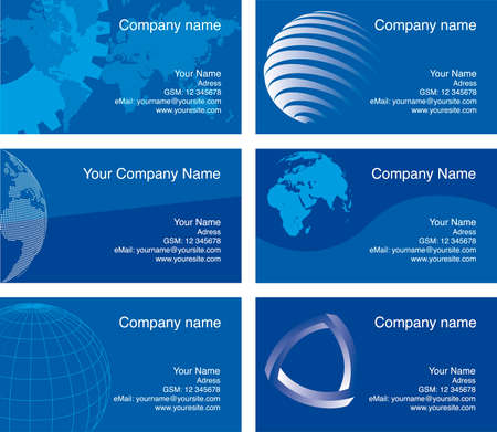 Business cards, blue series. Text is in the separate layer Stock Vector - 3351282