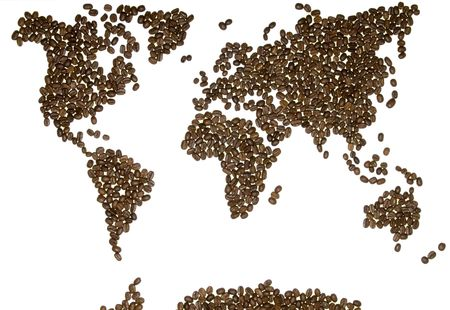one vehicle: World map with coffee beans