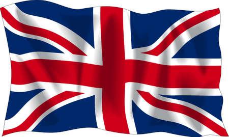 bandera inglaterra: Agitando bandera del Reino Unido aislado en blanco