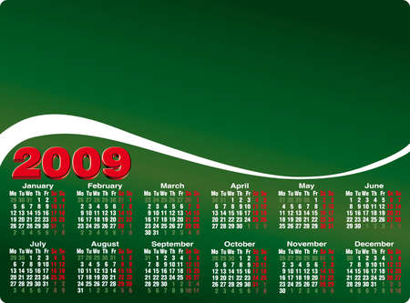 mon 12: Accurate calendar template for year 2009