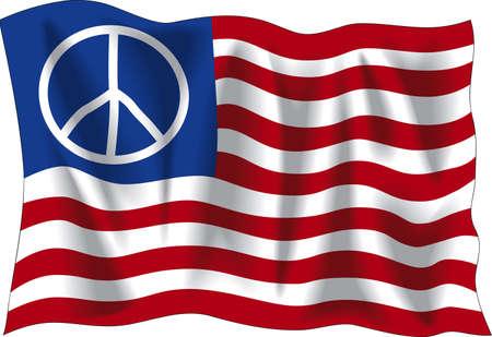 Wavy USA peace flag Vector