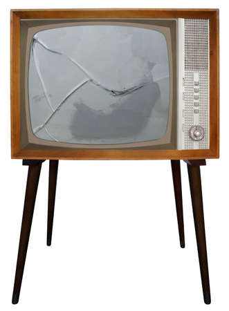 Broken screen of Old Television Stock Photo
