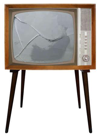 television antigua: Ha roto la pantalla del casco antiguo de la televisi�n Foto de archivo