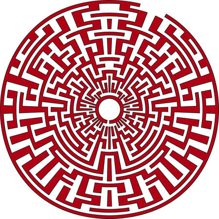 Red round labyrinth Vector