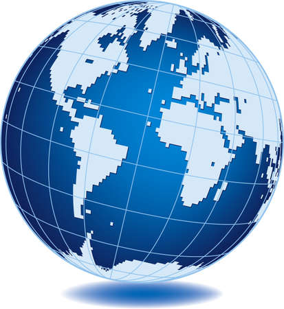 Simplified world globe isolated on white background Vector