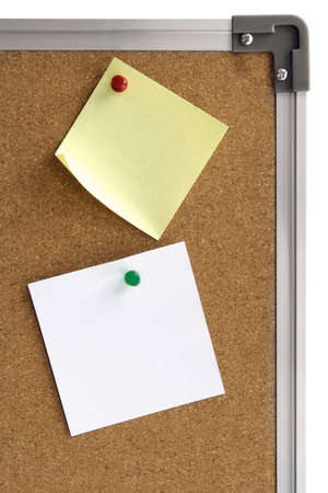 Cork board with two different blank notices isolated Stock Photo - 4178645