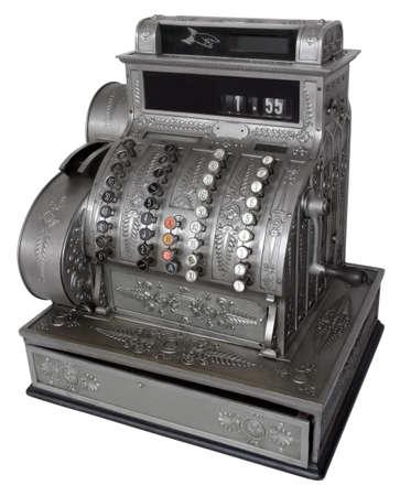 maquina registradora: Vintage caja aislada con saturaci�n camino