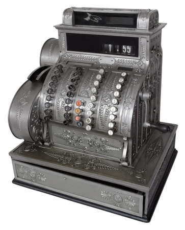 receipt: Vintage cash register isolated with path Stock Photo