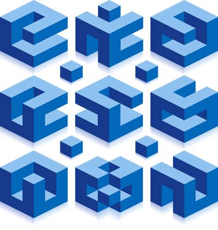 logotipo de construccion: Cubo de vectores signos de negocio de la construcci�n