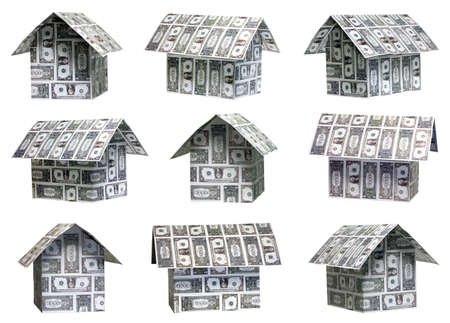 Nine different angles of dollar houses photo