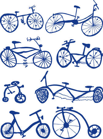 Eight Hand drawn bicycle Doodles Vector