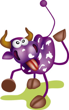 Crazy cow illustration