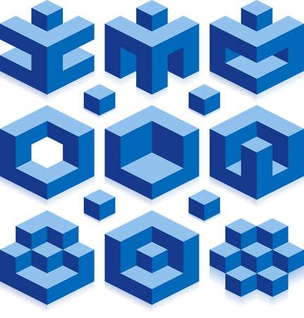 cubo: Cubo de vectores signos de negocio de la construcci�n