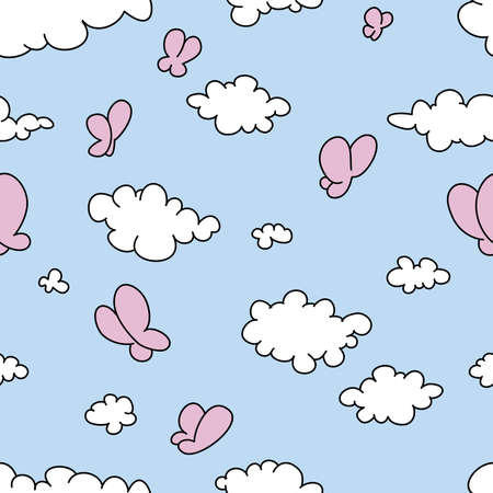 butterfly cartoon: Seamless vector illustration of clouds
