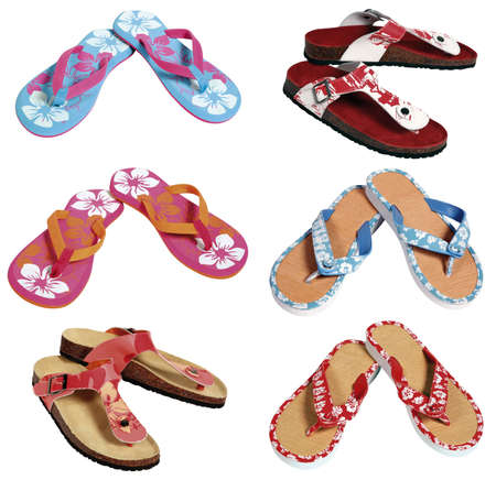 Six pairs of colorful flip flops Stock Photo - 4738540