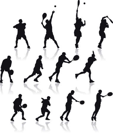 Vector Silhouette illustration of basic tennis shoots isolated on white background