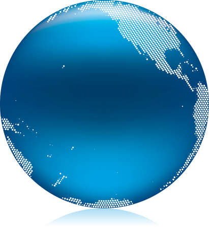 Vector illustration of shiny blue Earth globe, Pacific area Stock Vector - 4865602