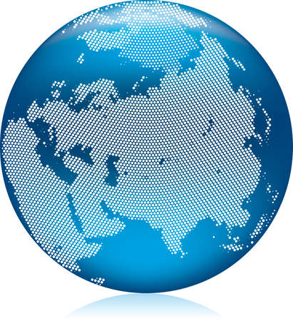 Vector illustration of shiny blue Earth globe with round dots, Asia on northern hemisphere Stock Vector - 4865606