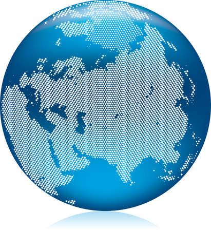hemisphere: Vector illustration of shiny blue Earth globe with round dots, Asia on northern hemisphere Illustration
