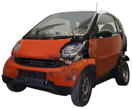 bad accident: Crashed car isolated on white background Stock Photo