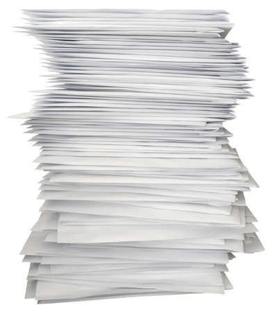 stack of documents: Stack of white letters isolated with path Stock Photo