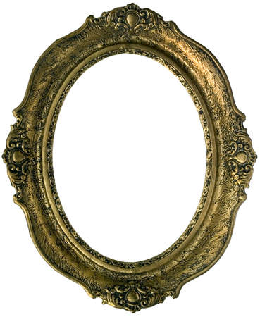 Old golden wooden frame isolated