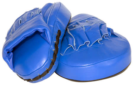 mitts: Blue punching focus mitts isolated  Stock Photo