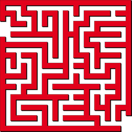 quiz: Vector illustration of Simple red maze