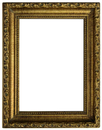 nobody: Old golden wooden frame isolated  Stock Photo